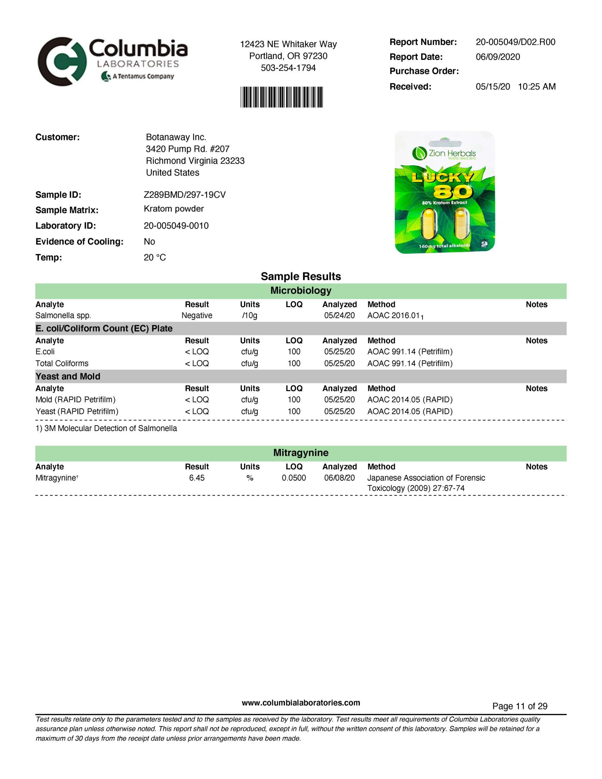 Zion Herbals 2 cap Lucky 80 BlisterZ280B